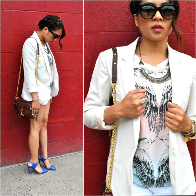 How to wear cream blazer summer style zara blue heels