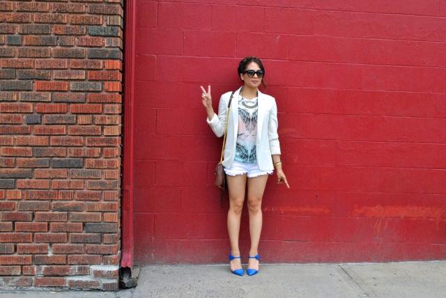 kansas city streetstyle crown braid creme blazer blue heels theiry lasry denim shorts