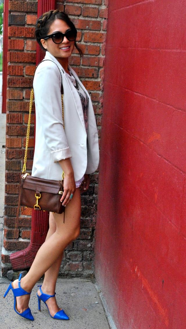 summer style creme blazer blue heels zara rebecca minkoff