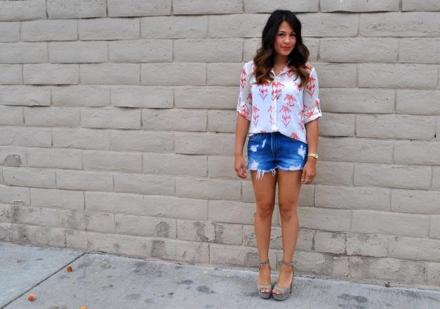 RLRB silk blouse levis summer outfit idea