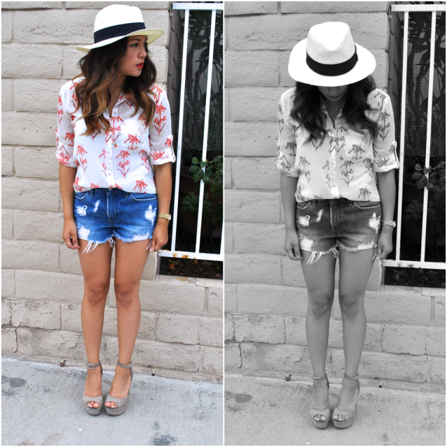 summer outfit panama hat