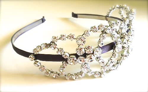RLRB crystal headband art deco vintage wedding acccessories RLRB handmade