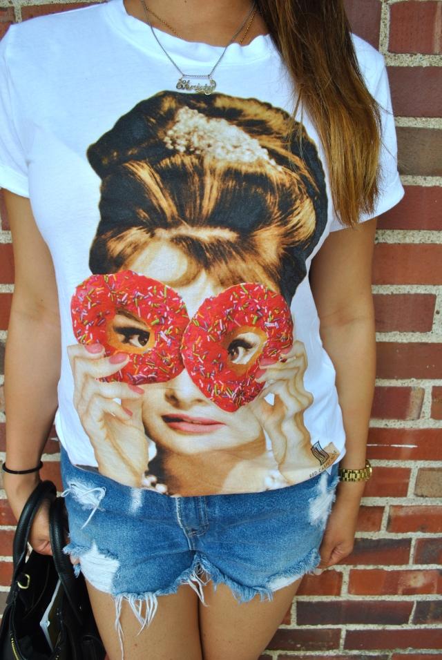 Audrey Hepburn shirt donut shirt fun graphic tee