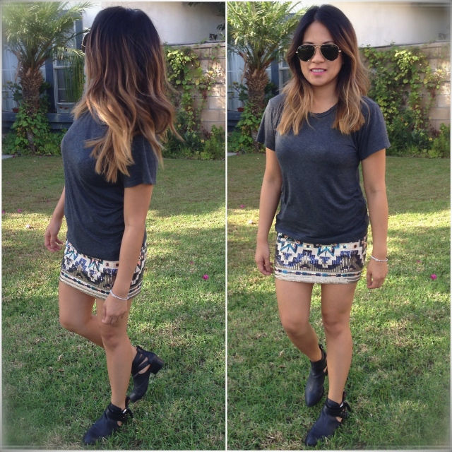 RLRB how to wear a sequins skirt day to night look
