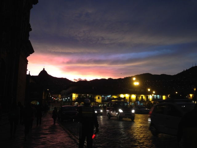 Peru Sunset Cusco Plaza De Armas RLRB blog