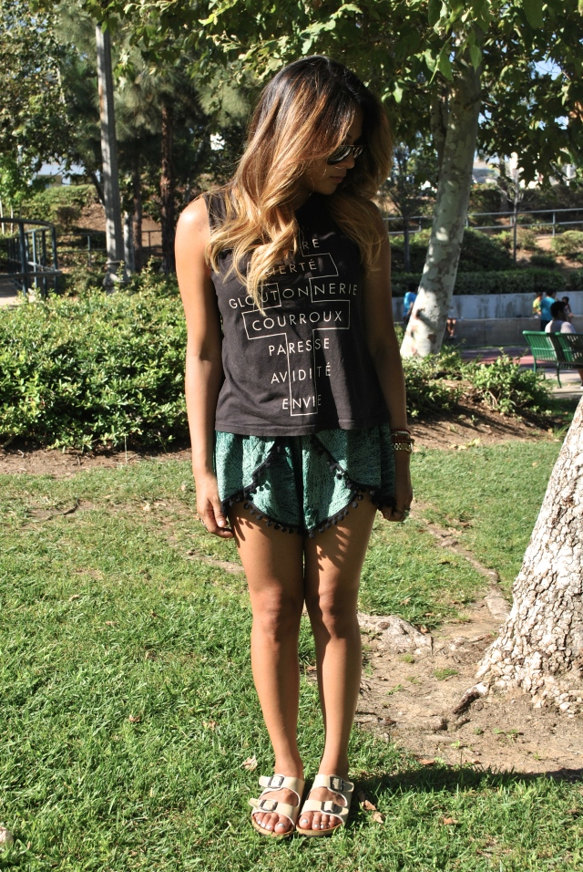 Coachella style festival style pom pom shorts RLRB